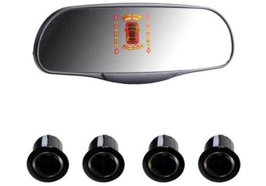 Парктроники Interpower на 4 датчика с зеркалом заднего вида