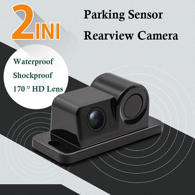 Car Parktronic 2In1 Design Camera Parking Sensor Kit Auto Reversing Rearview Backup Parking Radar 170 Degree Rear View Camera Parking Sensors  - AliExpress